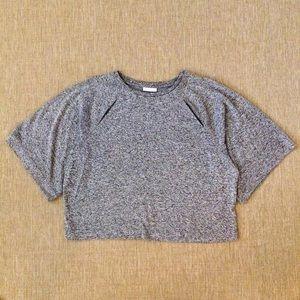 Raglan Sleeve Marled Gray Crop Top